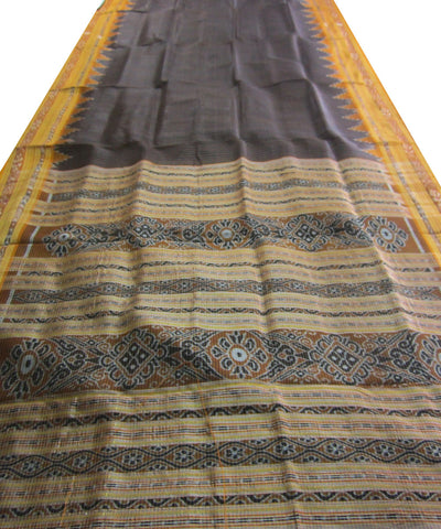 Nuapatna Black and Orange Khandua Silk Saree