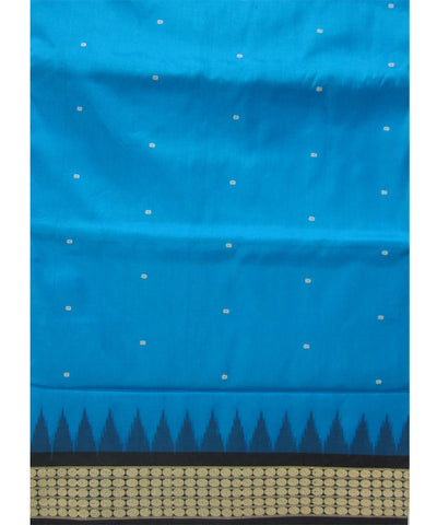 Blue and Black Bomaki Silk Saree