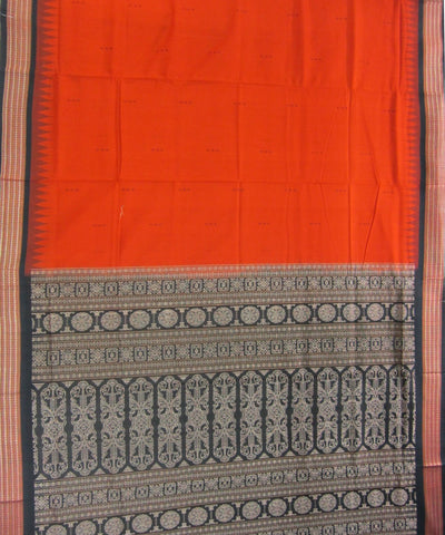 Traditional Orange and Black Cotton Saree