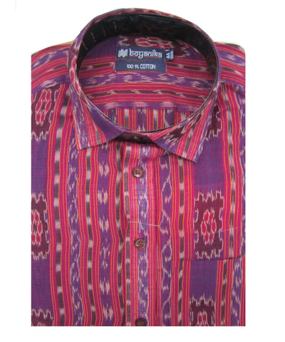 Bargarh Pink and Purple Cotton Shirt