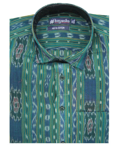 Bargarh Green with Yellow Stripes Cotton Shirt