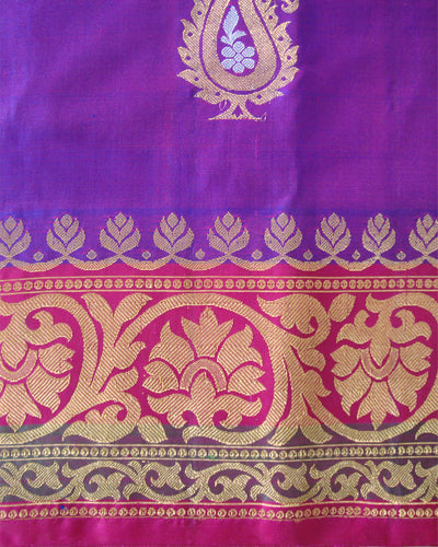 Pure Silk Turning Border Saree Blue and Pink