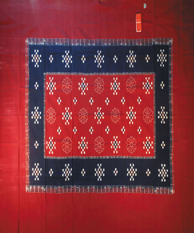 Maroon And Blue Sambalpuri Cotton Single Bed Cover