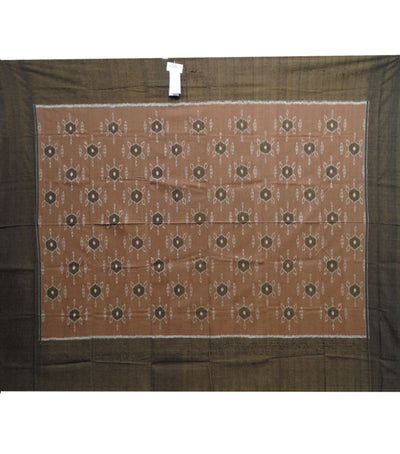 Exclusive French Beige And French Bistre Traditional Ikat Tie And Dye Single Bed Cover