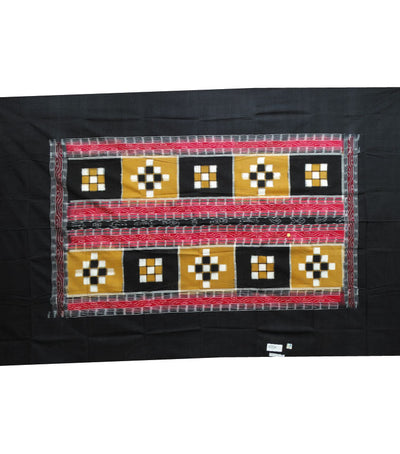 Exclusive Black And Dark Tangerine Pasapali And Vichitrapuri Ikat Tie And Dye Single Bed Cover
