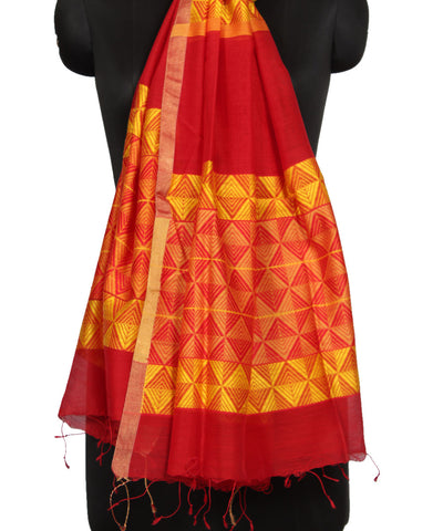 Bengal Handloom Red and Yellow Sico Duppata