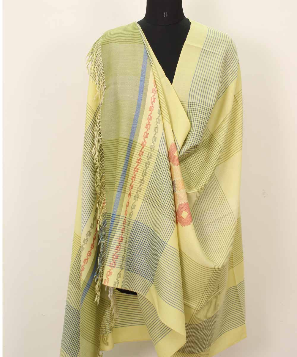 Lime Handwoven Woolen Shawl