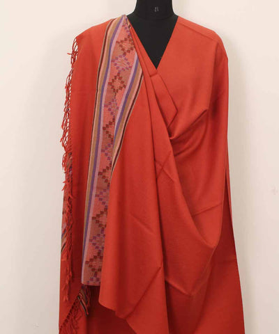 Orange Handwoven Woolen Shawl