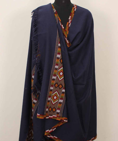 Denim Blue Handwoven Kullu Woolen Shawl