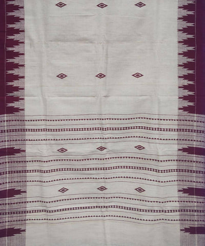 White and Maroon Natural Dye Handloom Kotpad Cotton Stole