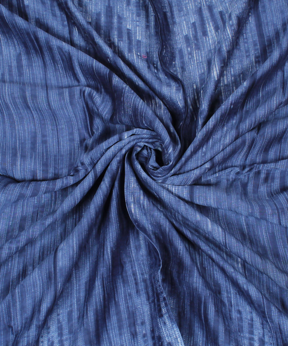Blue Grey Shibori Cotton Kurta Fabric