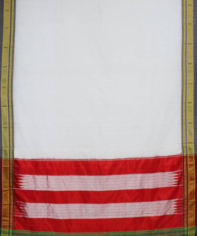 White, Grey and Red Handloom Ilkal Saree