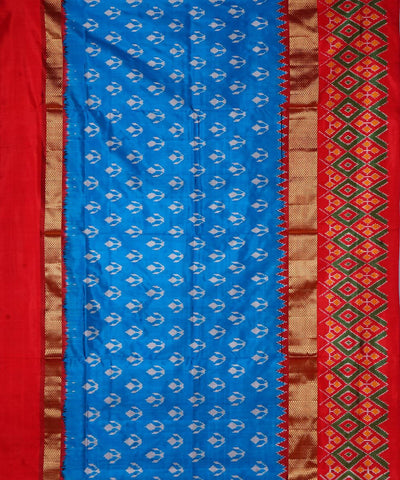Handwoven Sky Blue Pochampally Silk Saree