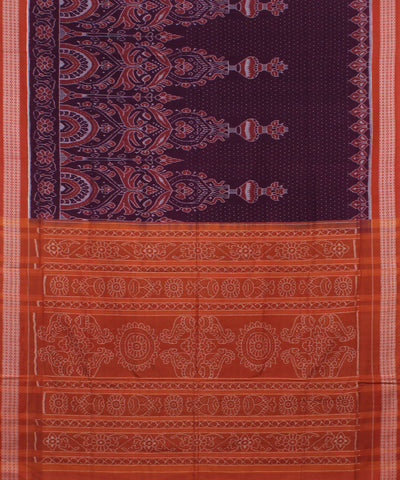 Purple Coral Sambalpuri Handloom Cotton Saree