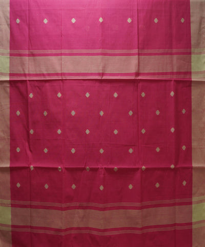 Loomworld Pink and White Handwoven Kovai Organic Cotton Saree