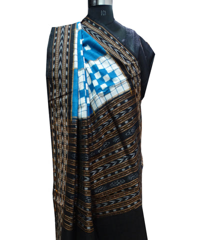 Exclusive Traditional Denim White And Black Pasapali Ikat  tie And dye Cotton Dupatta