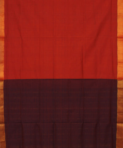 Mangalagiri Maroon Handwoven Cotton Saree