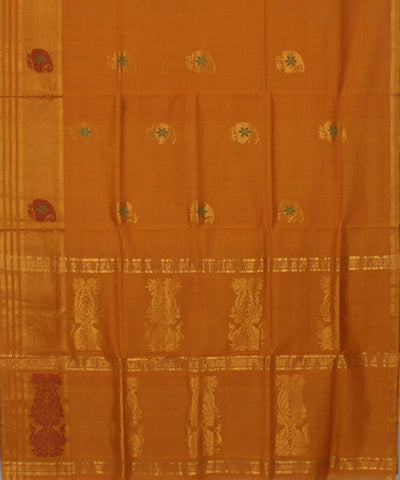Honey Orange Handwoven Andhra Cotton Saree