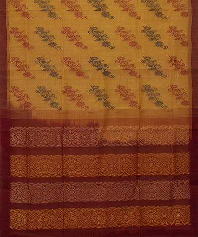 Cream Brown Kanchi Cotton Handloom Saree