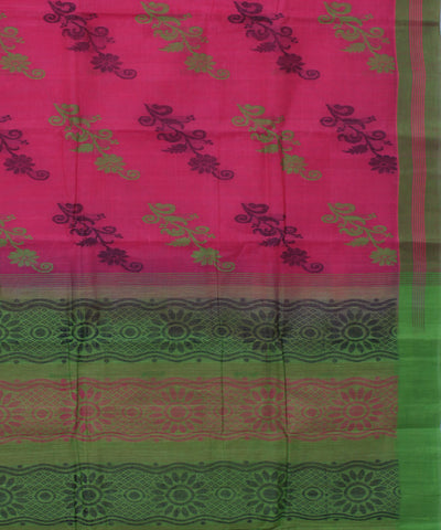 Pink and Green Kanchi Cotton Handloom Saree