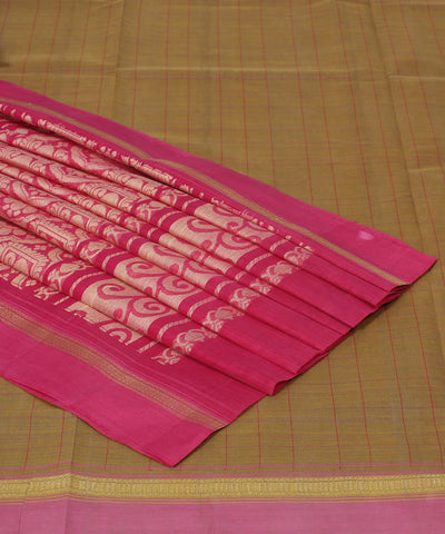 Brown and Pink Kanchi Cotton Handloom Saree