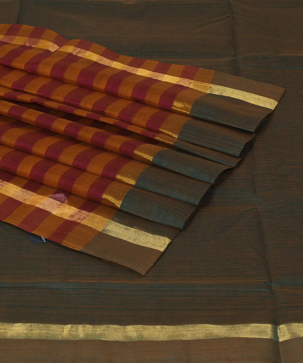 Blue Brown Madhavaram Cotton Handloom Saree