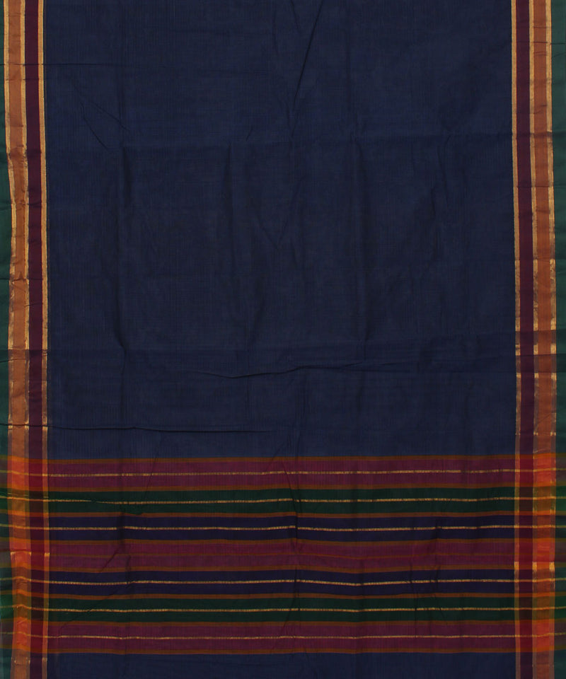 Navy Blue Handwoven Madhavaram Cotton Saree