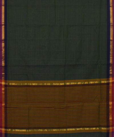 Dark Green Handwoven Madhavaram Cotton Saree