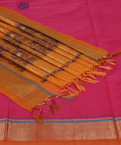Pink Orange Handwoven Andhra Cotton Saree