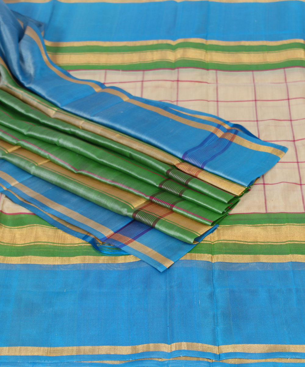 Cream Checks Handwoven Uppada Silk Saree