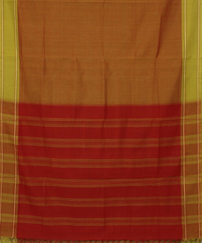 Brown and Green Handwoven Andhra Cotton Saree