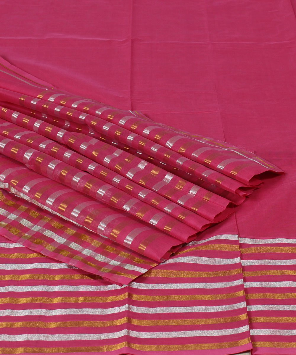Venkatagiri Pink Handwoven Cotton Saree