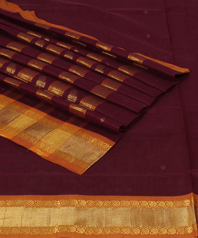 Venkatagiri Burgundy Handloom Cotton Saree