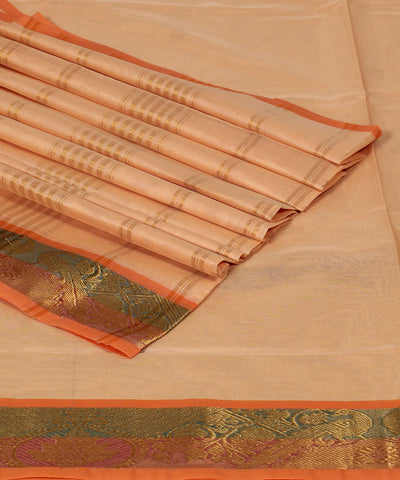 Venkatgiri Cream Orange Handloom Cotton Saree
