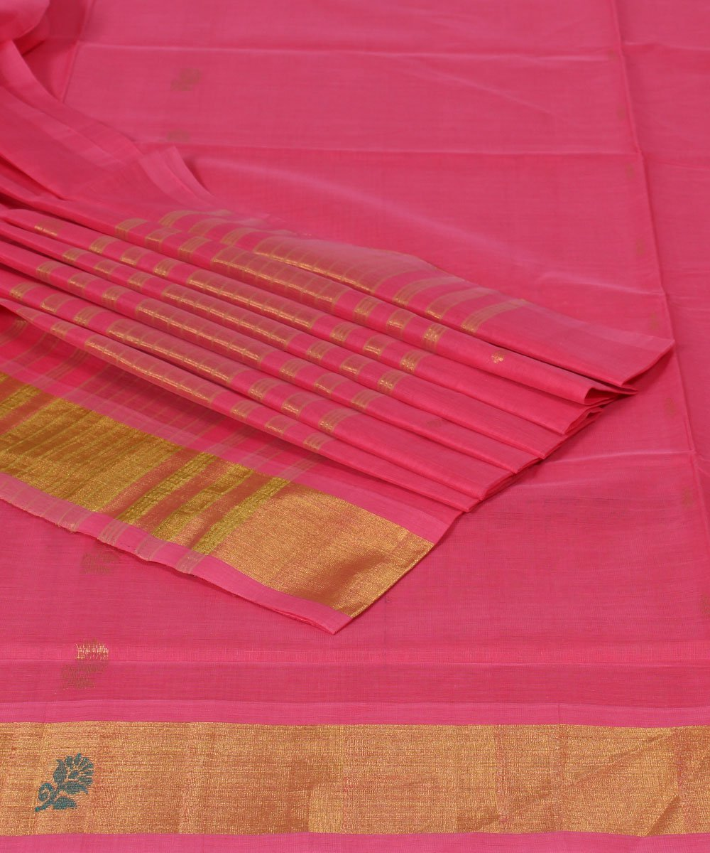 Venkatagiri Handwoven Pink Cotton Saree