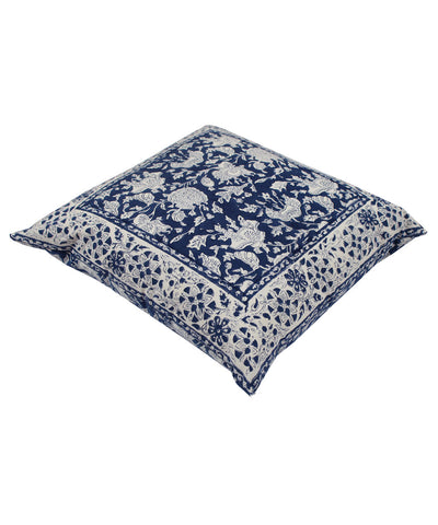 Handblock Printed Blue Cushion Cover
