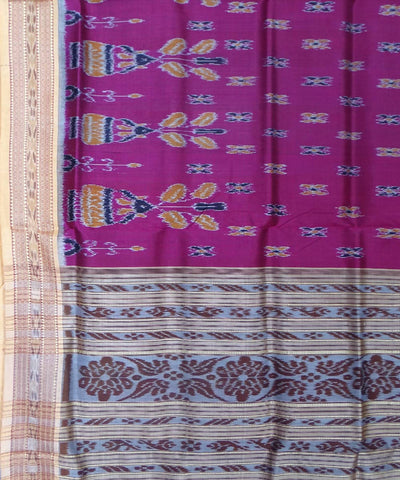 Purple Grey Handloom Khandua Silk Saree