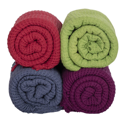 Biswa Bangla Handwoven Cotton Bath Towels (Pack of 4, Light Weight, Honey Comb Pattern, Quick Dry, Skin Friendly)