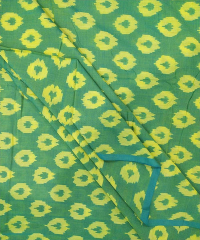 Green and yellow cotton Handwoven Pochampally Ikat Fabric