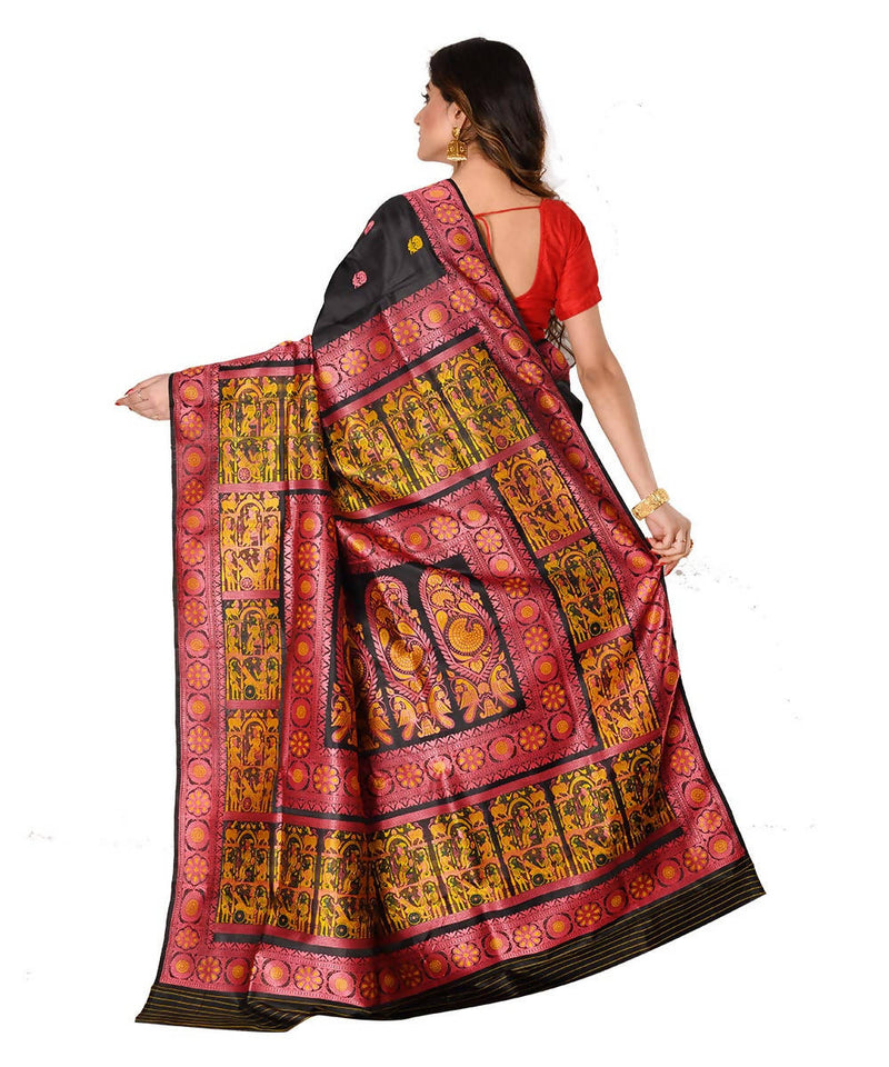 Bengal baluchari handwoven black silk saree