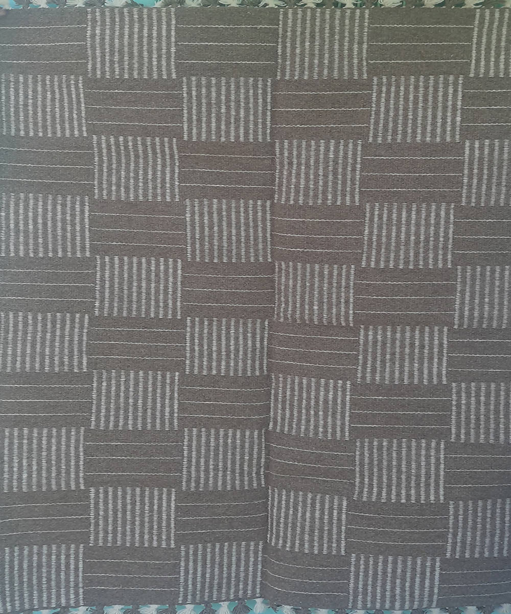 Grey checquered handwoven wool and cotton durrie