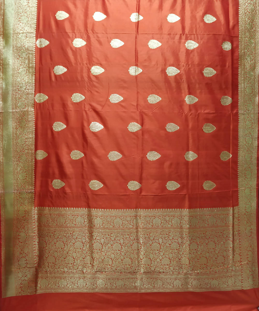 Banarasi Katan Silk Fire Orange Handwoven Saree