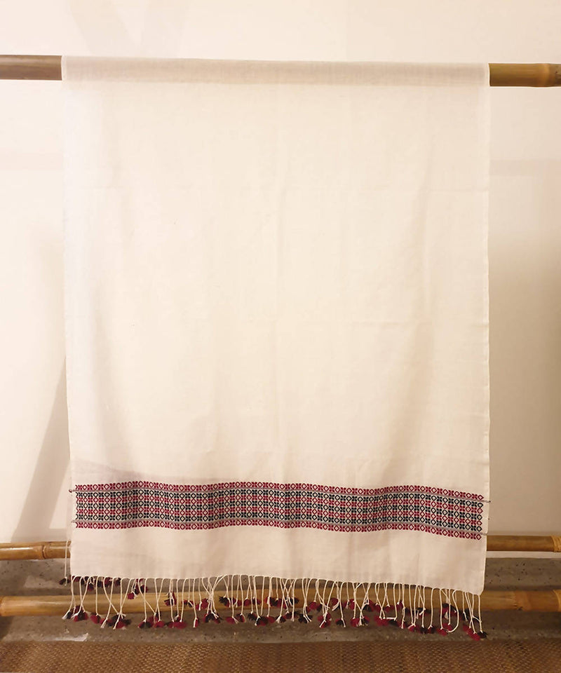 white and black assam handloom cotton dupatta