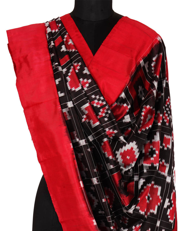 Black Red Handloom Ikkat Silk Dupatta
