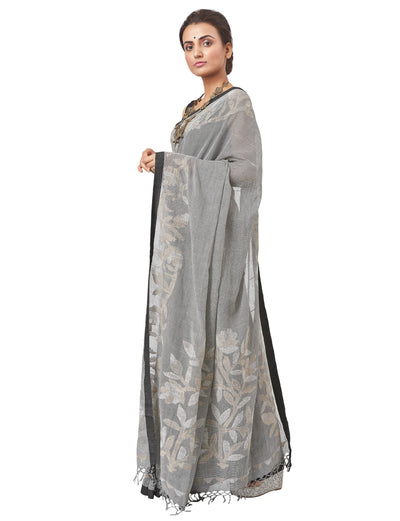 Biswa Bangla Nettle Cotton Jamdani Saree