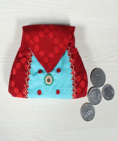 Red and Sky Blue Lambani Hand Embroidery Cotton Foldover Pouch