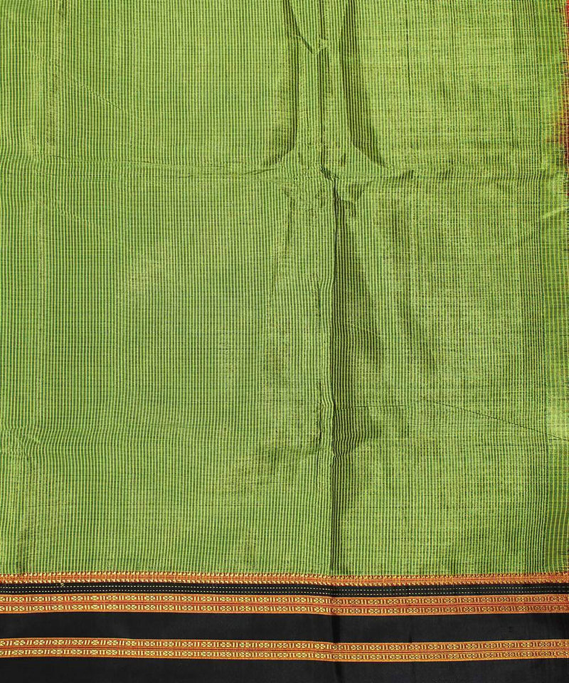 Pear green handwoven black chikki paras border ilkal saree