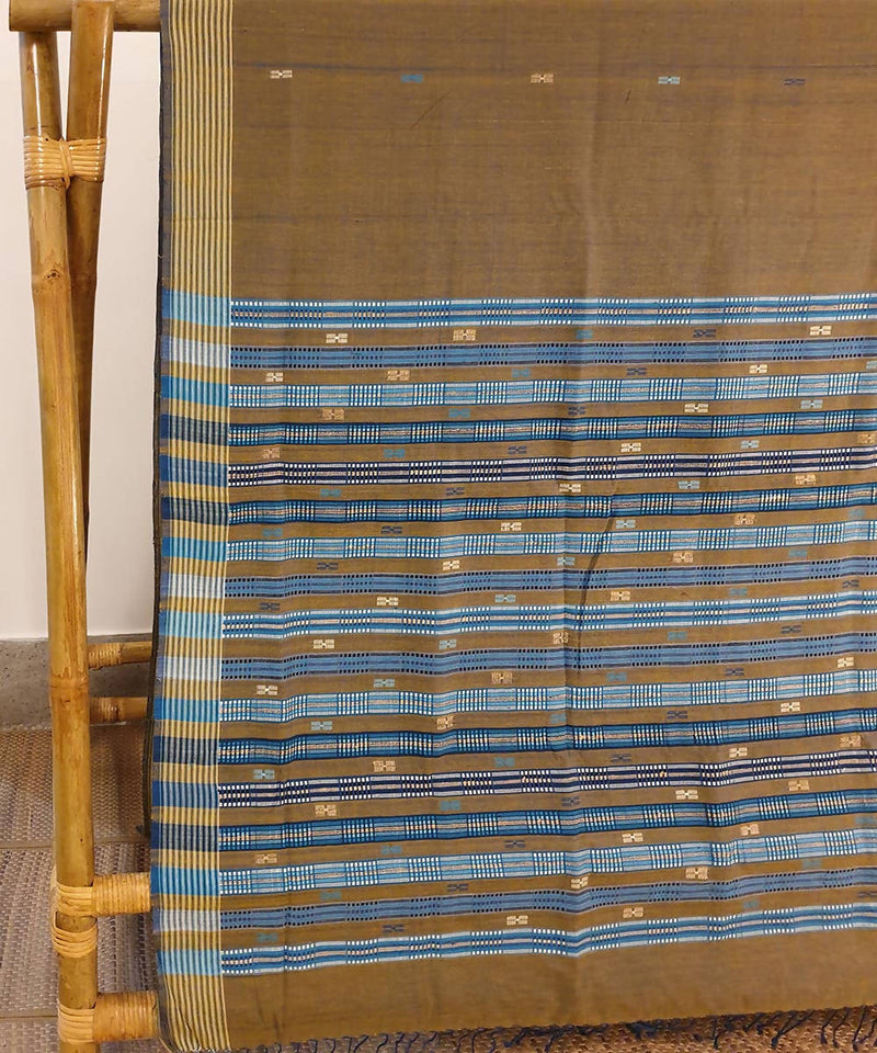 Light brown assam handloom cotton and ghiccha saree