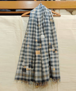 Blue Checks Natural Dye Handwoven Cotton Stole