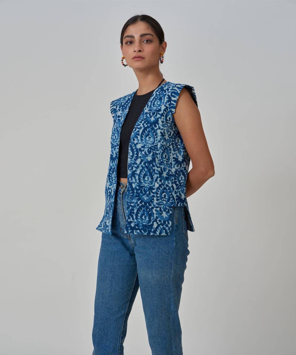 Handblock Printed Indigo cotton Reversible Short Jacket